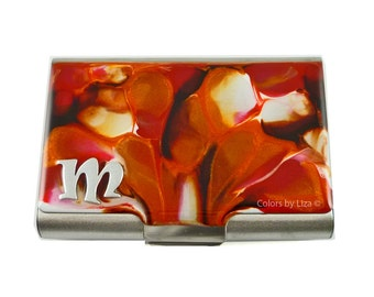 Personalized Metal Business Card Case Orange and Red Multi Large Card Holder Hand Painted Enamel Finish Personalized Options Available
