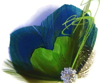 Peacock Hair Fascinator SWEET HEART Blue and Lime for Bride or Bridesmaids with Rhinestone