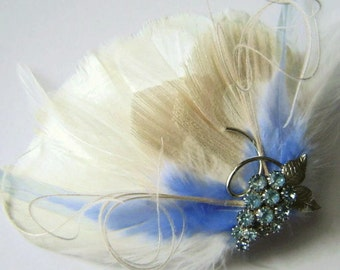 SALE ICE BLUE Ivory Bridal Feather  Hair Fascinator Clip with Vintage Pale Blue Grape Pin