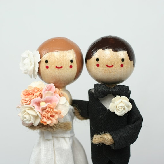 Custom Wedding Cake Topper With STANDARD LONG DRESS