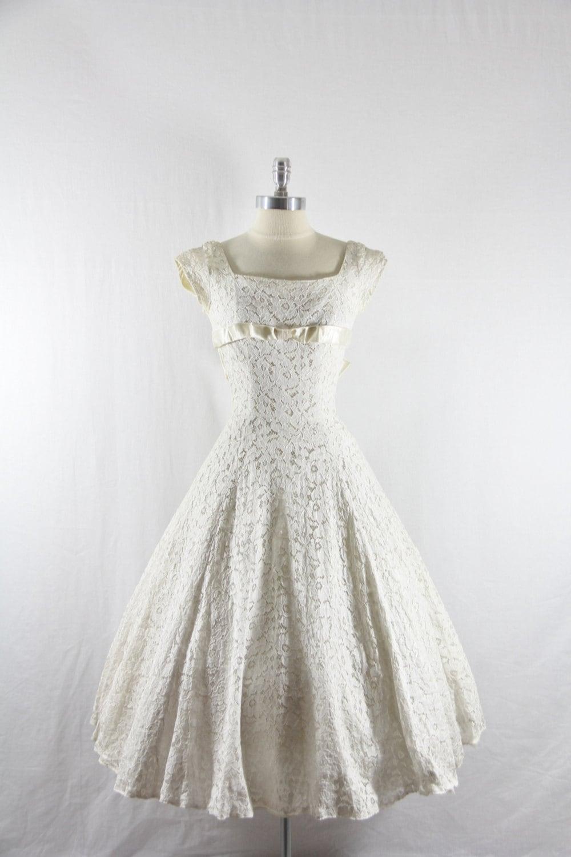 1950 39 S Vintage Wedding Dress White Lace And Satin Emma