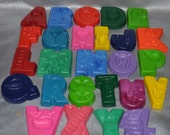 Recycled Crayons Whole Alphabet Total of 26 Letters.  Boy or Girl Kids Unique Party Favors, Crayons.