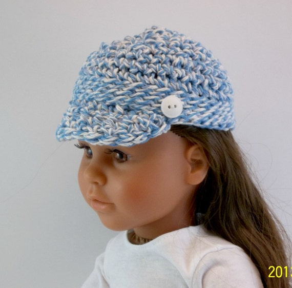 American girl 18 inch doll clothes crochet blue and white for Garden tools for 18 inch doll