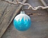 Jumbo Vintage Shiny Brite Christmas Ornament Turquoise White Flocking Large