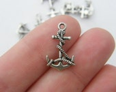 14 Anchor charms antique silver tone AN1