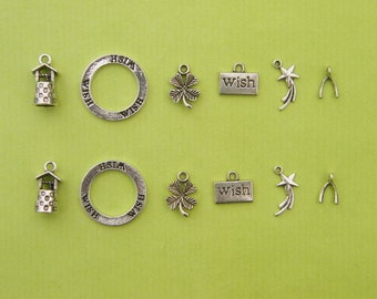 The Make a Wish Collection - 12 antique silver tone charms