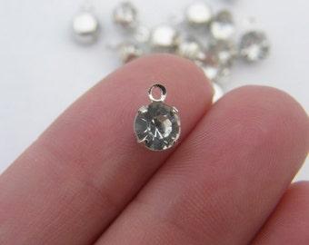12 Rhinestone charms 8 x 6mm silver tone