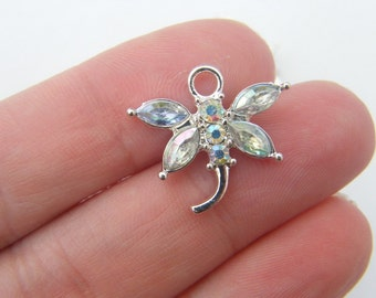 4 Clear rhinestone dragonfly pendant silver plated A400