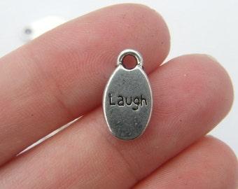 10 LAUGH charms antique silver tone M306
