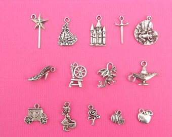 The Fairy tale Collection - 14 different antique silver tone charms