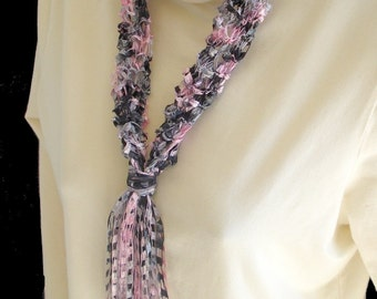 Soft Fiber Textile Necklace Scarf, Hand Knit of Pink and Gray Ladder Yarn - Fiber Jewelry