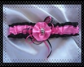 Hot Pink and Black Skull Flower Garter ~~~SALE~~~