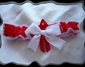 White Organza Ribbon Wedding Garter Toss Made with Reds Fabric~~SALE~~