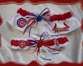 House Divided White Satin Wedding Garters Made with Cardinals and Cubs Fabric