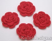 "Rose Red 1-1/4"" Crochet Rose Flower Embellishments Handmade Applique Scrapbooking Fashion Accessories - 4 pcs. (3510-01)"