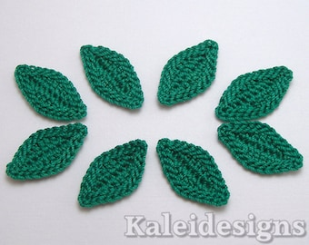 "Kelly Green 1"" Crochet Leaves Embellishments Handmade Applique Scrapbooking Fashion Accessories - 8 pcs. (7370-01)"