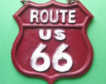 Cast Iron Route 66 Sign- Rustic  - Historic- Wall Decor