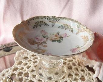 Vintage Rose Plate Bowl Ring Holder/ Business Card Holder/ Trinket Holder /Soap Dish/Candle Holder/ Recycled Gifts for Her