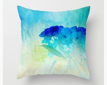 WATERCOLOR HYDRANGEAS decorative throw pillow, teal turquoise cobalt scatter cushion, pillow cover, cushion cover home decor