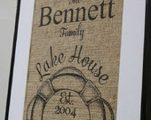 Personalized Lake House Burlap Print...great housewarming gift