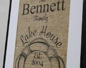 Free US Shipping...Personalized Lake House Burlap Print...great housewarming gift