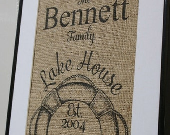 Free US Shipping...Personalized Lake House Burlap Print...great housewarming gift