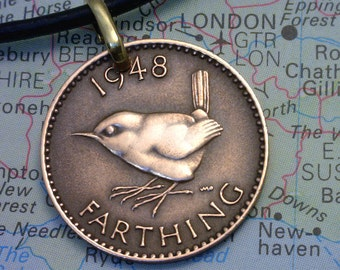 British ( One Farthing ) - Genuine Coin Pendant - Real Leather Necklace w/Clasp - ( Choose Length ) - Unique Gift (2-B3)