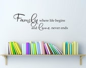 Family Wall Decal - Family where life begins and love never ends Decal - Medium