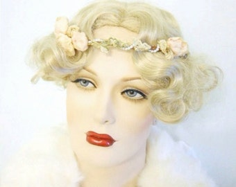 "Vintage ribbon work and lace crown flapper, ""tea rose"""