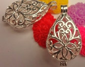 Flower Filigree Lace - Locket - pendant - sterling silver plated  - victorian floral lace design