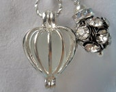 Pearl Cage - Gemstone cage - Heart - Locket - pendant - love heart - Silver plated - best friend gift
