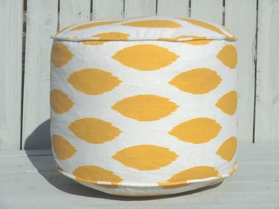 Yellow round pouf, ikat ottoman 18' , bean bag chair, large floor cushion, ikat footrest