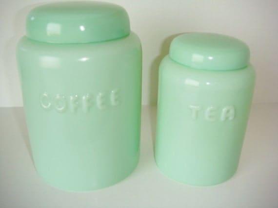 Jadite Jadeite Canister Set Coffee And Tea