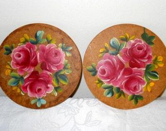 Vintage Rose Wooden Trivets Large Oversized