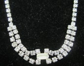"""Rhinestone NECKLACE Clear prong-set w rect center sparkly 16"""""""