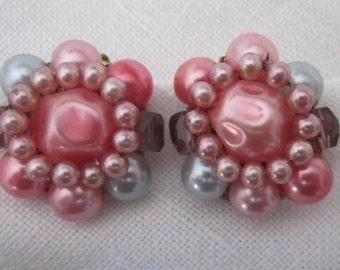 Pink EARRINGS vintage 1950s