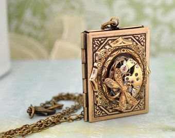 THE TIME KEEPER antiqued brass book style steampunk vintage 17 jeweled watch movement locket necklace