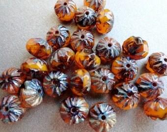 6x9mm Premium Czech Beads - Milky Orange Swirl - Carved Cruller Beads