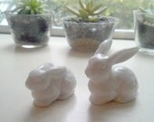 Miniature Bunny Rabbits Pair Otagiri Mercantile Company Collectible
