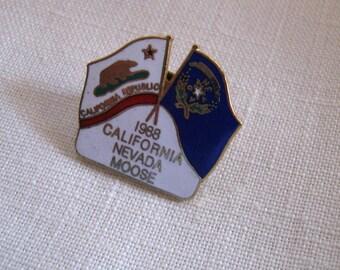 Vintage Moose 1988 CALIFORNIA NEVADA  Lodge Enamel Lapel Pin /Collectible Pin