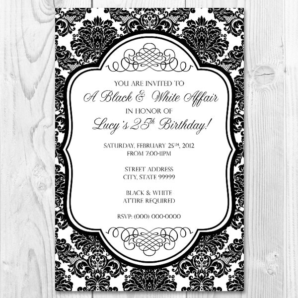 Printable Black and White Affair Party Invitation Design 4x6 – Black and White Party Theme Invitations
