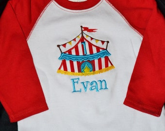 1st Birthday Shirt Circus vintage circus tent number 1 and name personalized Reglan Long Sleeve
