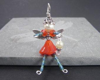 NATALIA Orange and Green Fairy Charm - Lucky Charm - Cell Phone Charm - Zipper Pull - Rear View Mirror Charm - Faery Decoration - Ornament