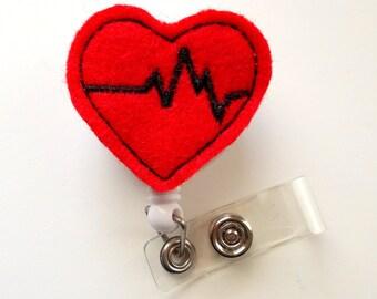 Beating Heart - Retractable ID Badge Reel - Cardiac Care Badge - Nursing Badge - Nurse Badge Holder - Nursing Badge Clip - Felt Badge