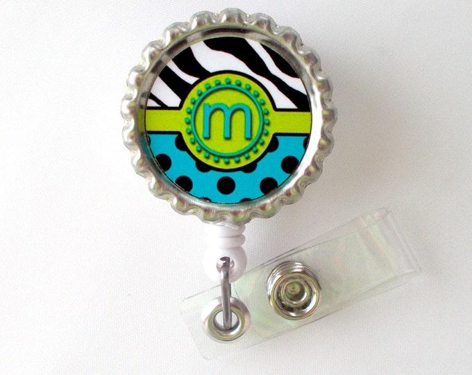 Funky Initial - ID Badge Holder - Badge Reel - Name Badge Holder - Bottle Cap Badge - Nursing Badge - Nurse Badge Holder