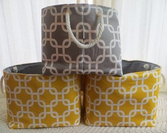 Storage bin, Organizer bin, Toy Storage, 12 x 12 x 10 -  Gotcha print Choose your color combinations Rope handles