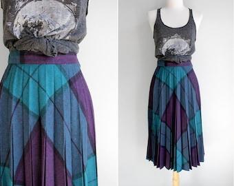FINAL SALE Vintage Teal Plaid Accordian Pleat Skirt- Purple Blue Black Bias Plaid Circle Skirt- Size Small S