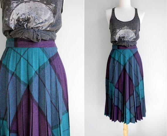 Vintage Teal Plaid Accordian Pleat Skirt- Purple Blue Black Bias Plaid Circle Skirt- Size Small S