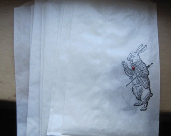 NEW alice in wonderland white rabbit shabby glassine sacks set of 8