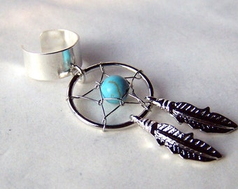 Dreamcatcher Ear Cuff Turquoise Ear Cuffs Dream Catcher Jewelry Feather Body Jewelry